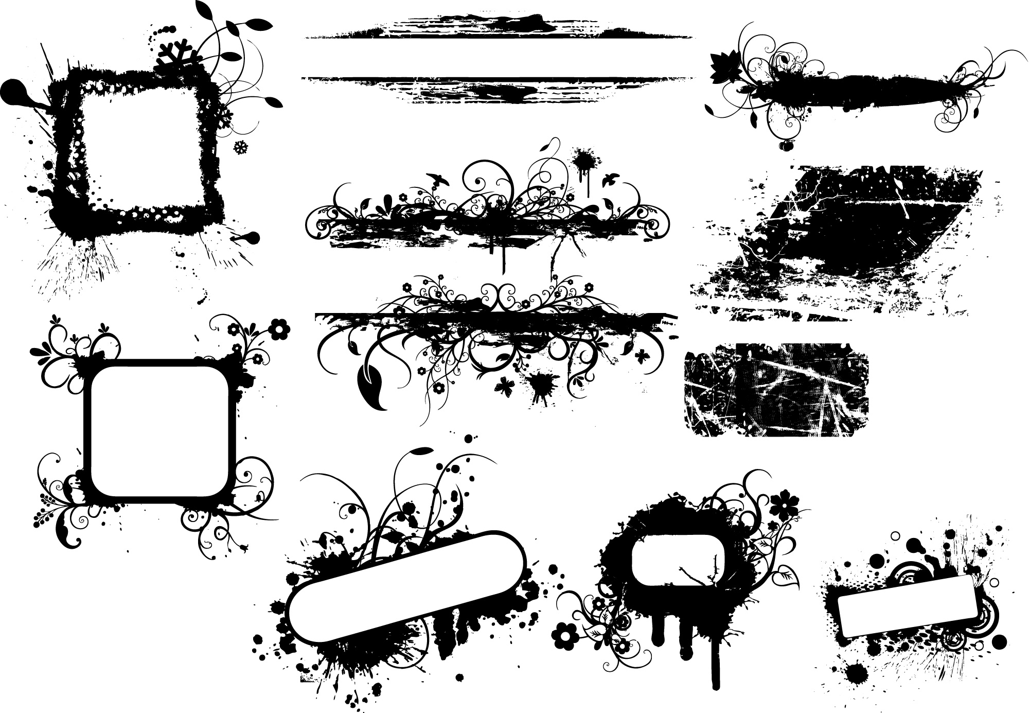 Free Photoshop: Grunge Banners Brushes, PNG, Vectors and.