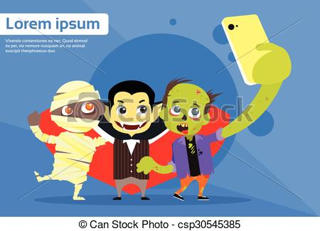 Vector of Halloween Selfie Photo Smart Phone Cartoon Vampire.