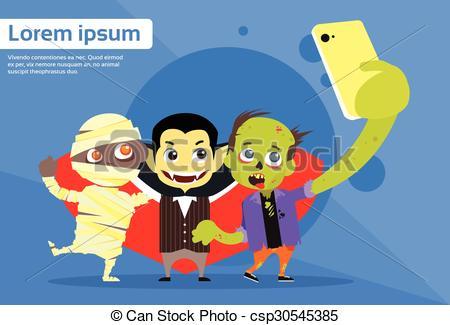 Vector of Halloween Selfie Photo Smart Phone Cartoon Vampire.