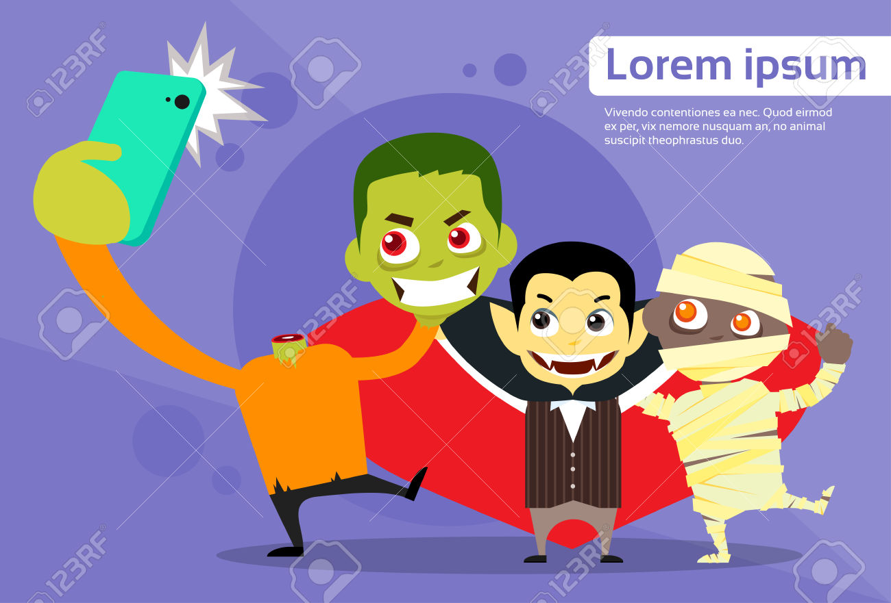 Halloween Selfie Photo Smart Phone Cartoon Vampire Zombie Mummy.