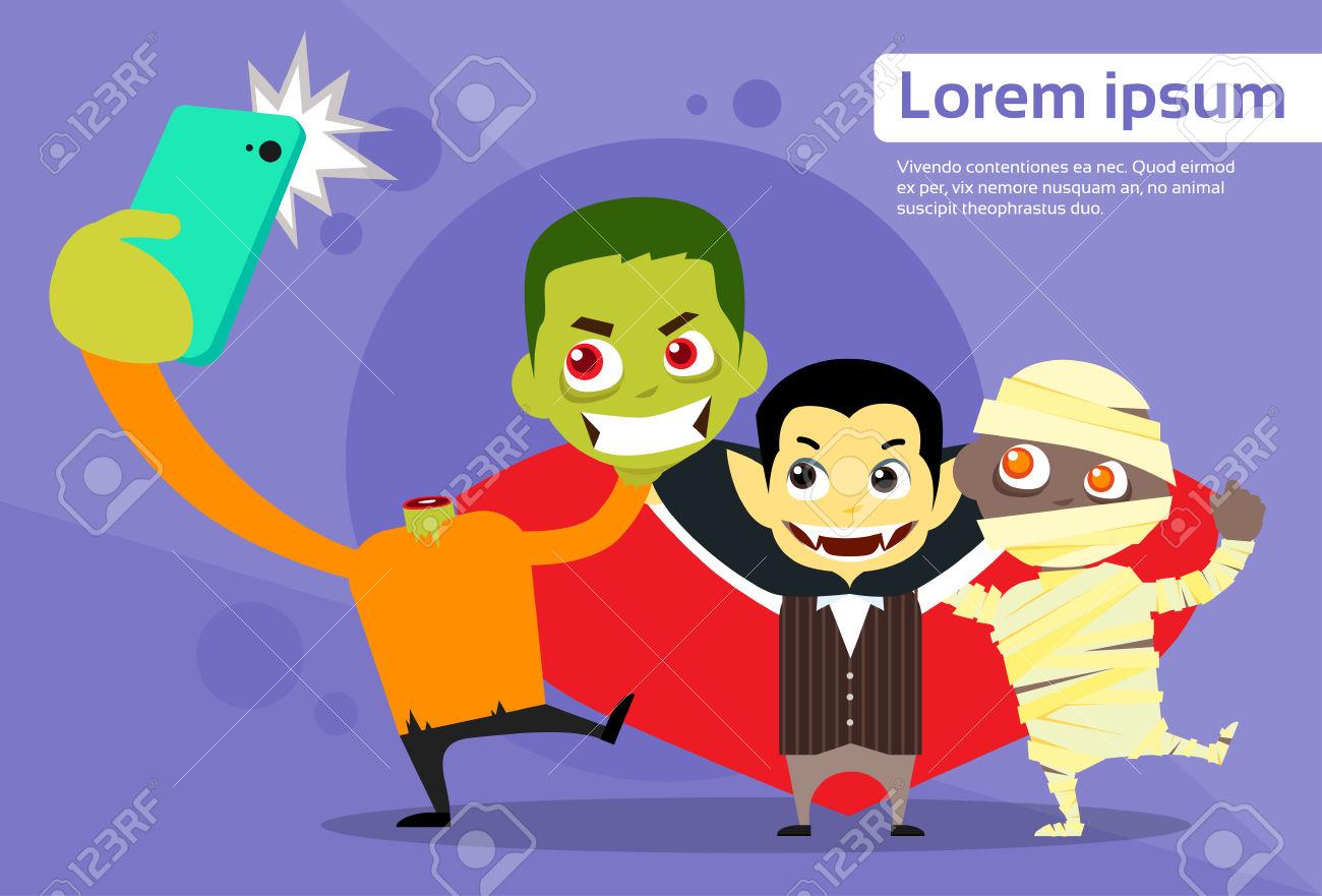 Halloween Selfie Photo Smart Phone Cartoon Vampire Zombie Mummy.
