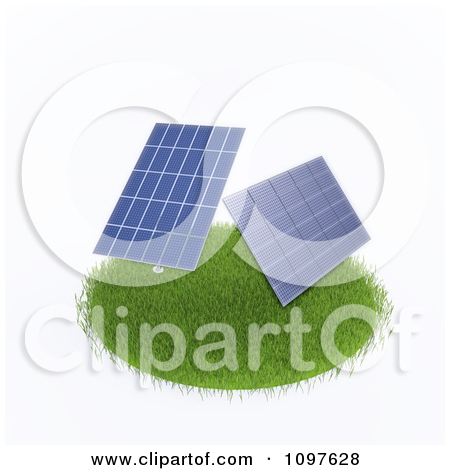Clipart 3d Photovoltaic Panels Collecting Solar Energy.
