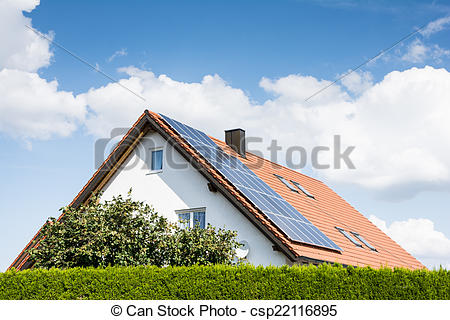 Stock Photographs of Modern House with Photovoltaic System.