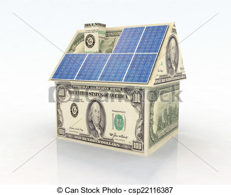 Stock Illustration of financing for photovoltaic system.