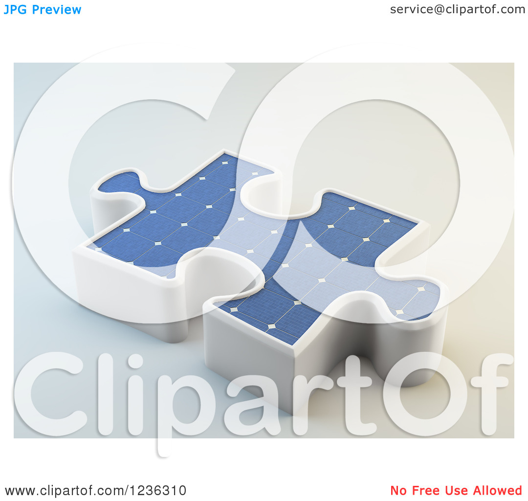 Clipart of a 3d Solar Photovoltaics Panel Jigsaw Puzzle Piece.
