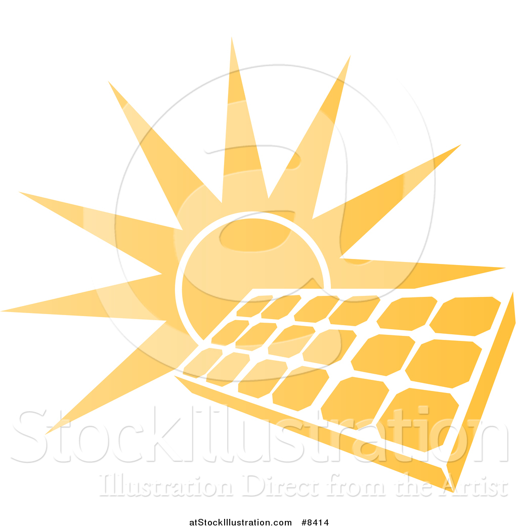 Vector Illustration of a Sun Shining Behind a Solar Panel.