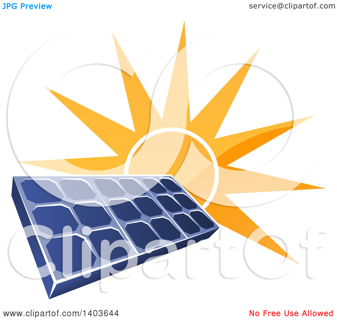 Clipart of a Shiny Orange Sun Shining Behind a Blue Solar Panel.