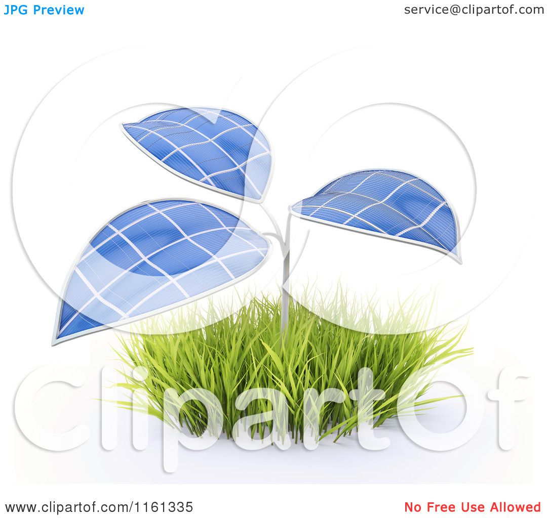 Clipart of a 3d Plant with Photovoltaic Solar Panel Leaves.
