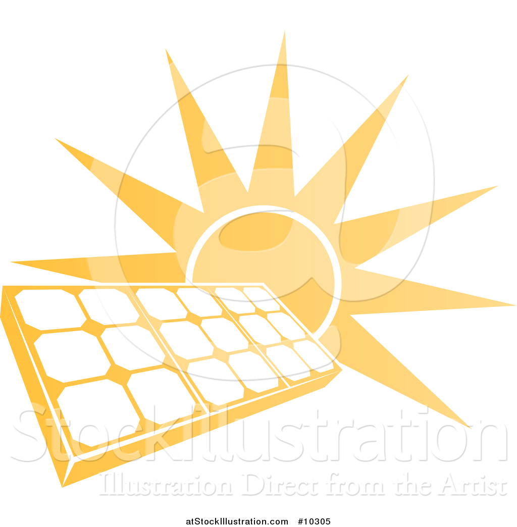 Vector Illustration of a Bright Orange Sun Behind a Solar Panel.