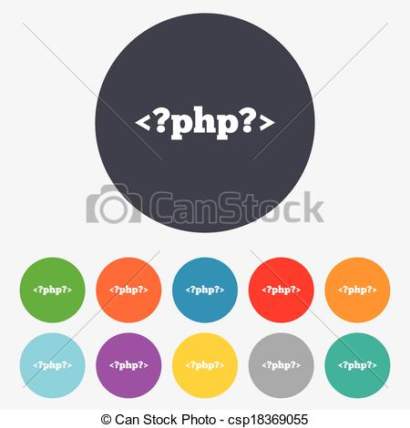 Clipart Vector of PHP sign icon. Programming language symbol.