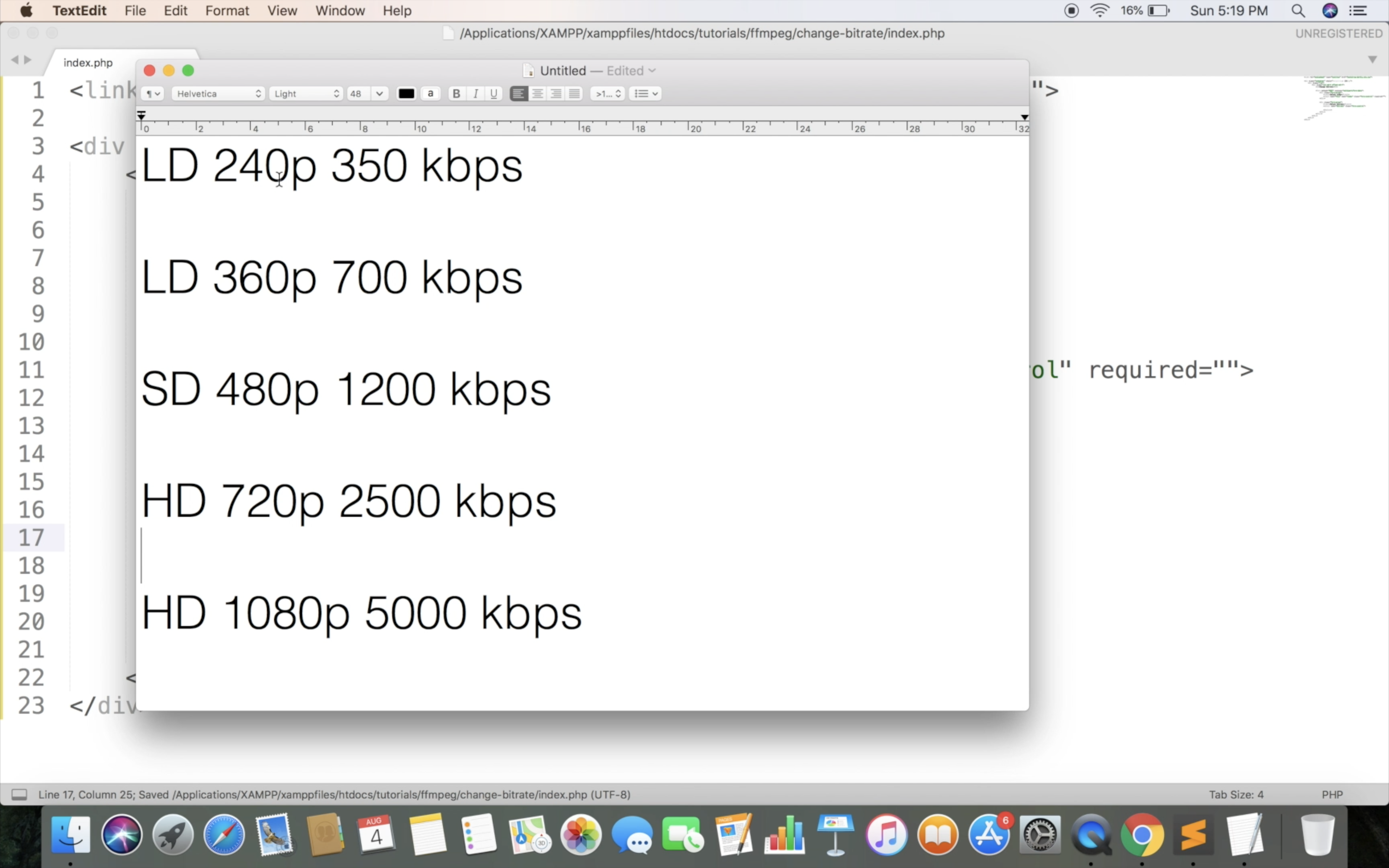 Compress video in bitrate and resolution.