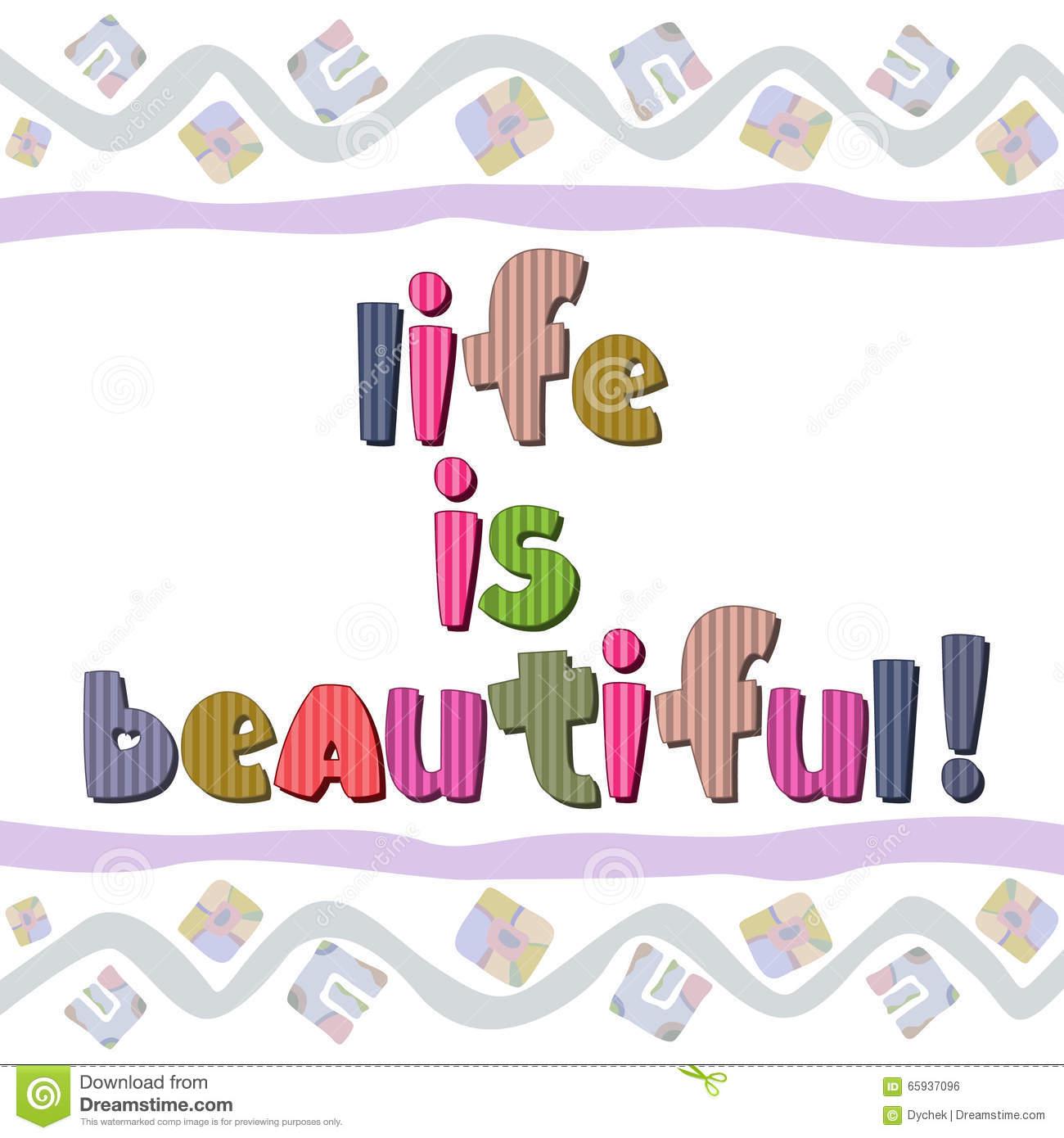 Original Spelling Phrase Life Beautiful Stock Illustrations.