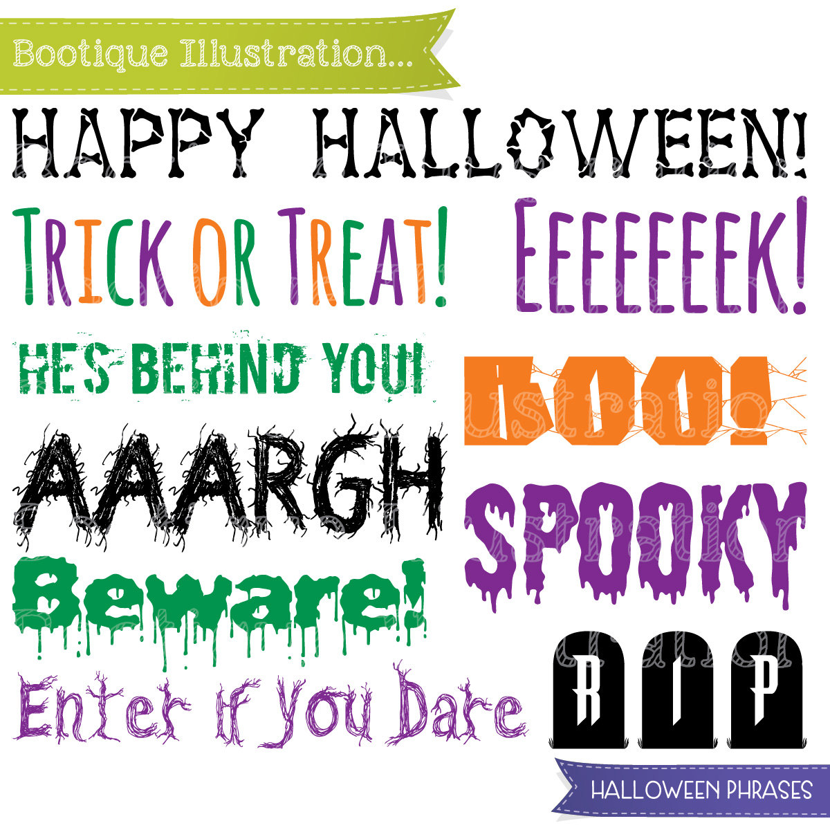 Halloween Phrases Clipart, Halloween Clip Art. Boo! Trick or Treat.