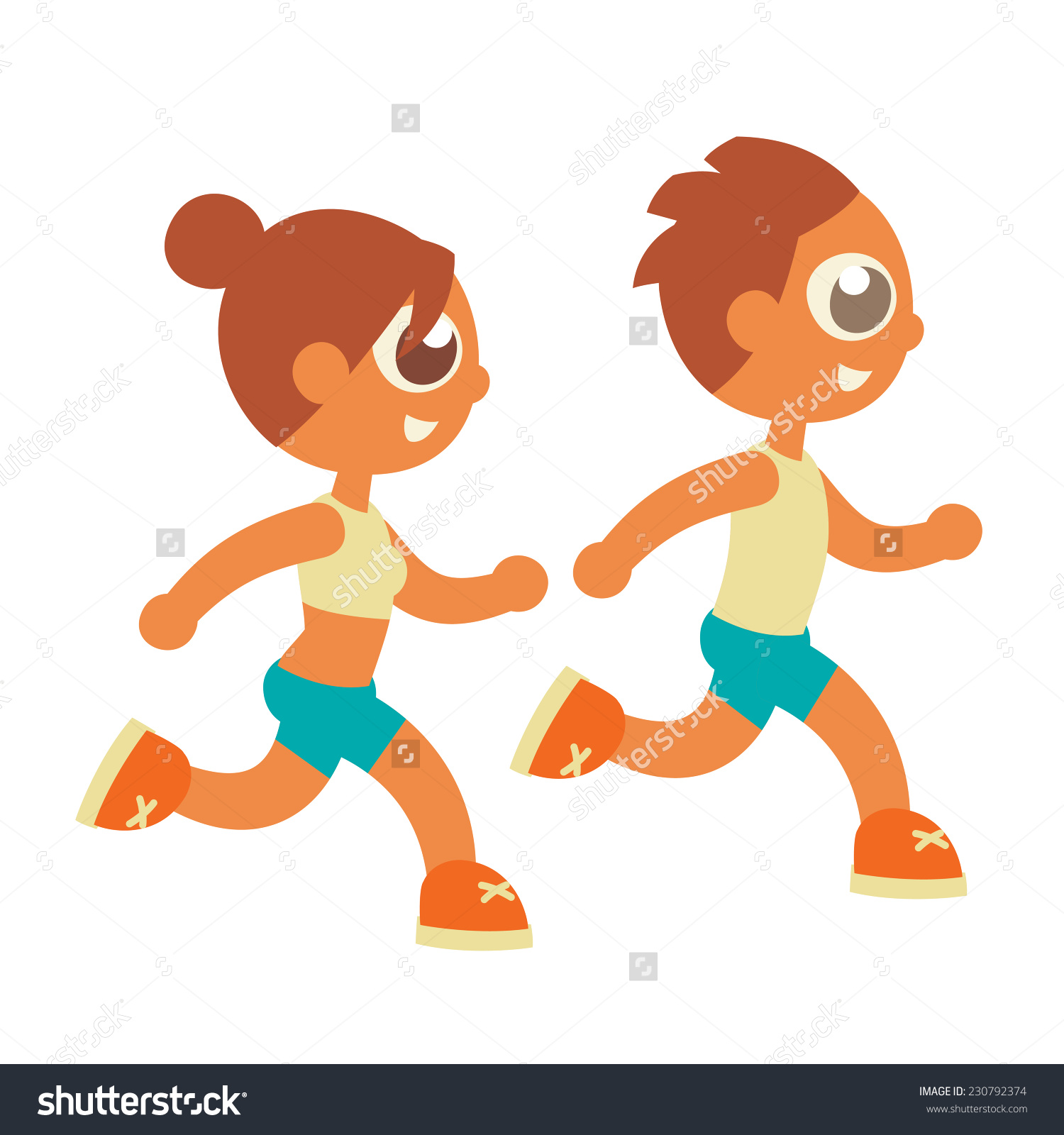 School Physical Culture Runners, Cartoon Flat Style Vector.
