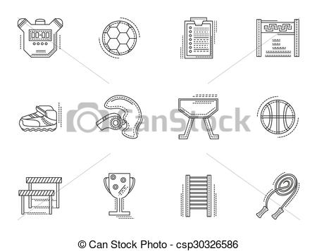 Vector of Thin line style physical culture vector icons.