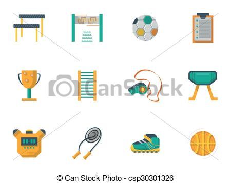 Vector Illustration of Physical culture flat color vector icons.