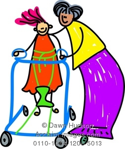 Clipart Illustration of Little Disabled Girl Learning To Walk.
