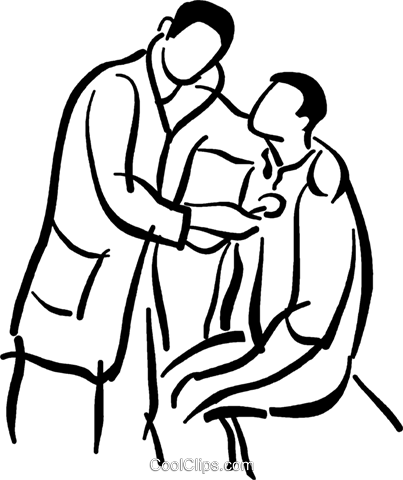 doctor giving a physical exam Royalty Free Vector Clip Art.