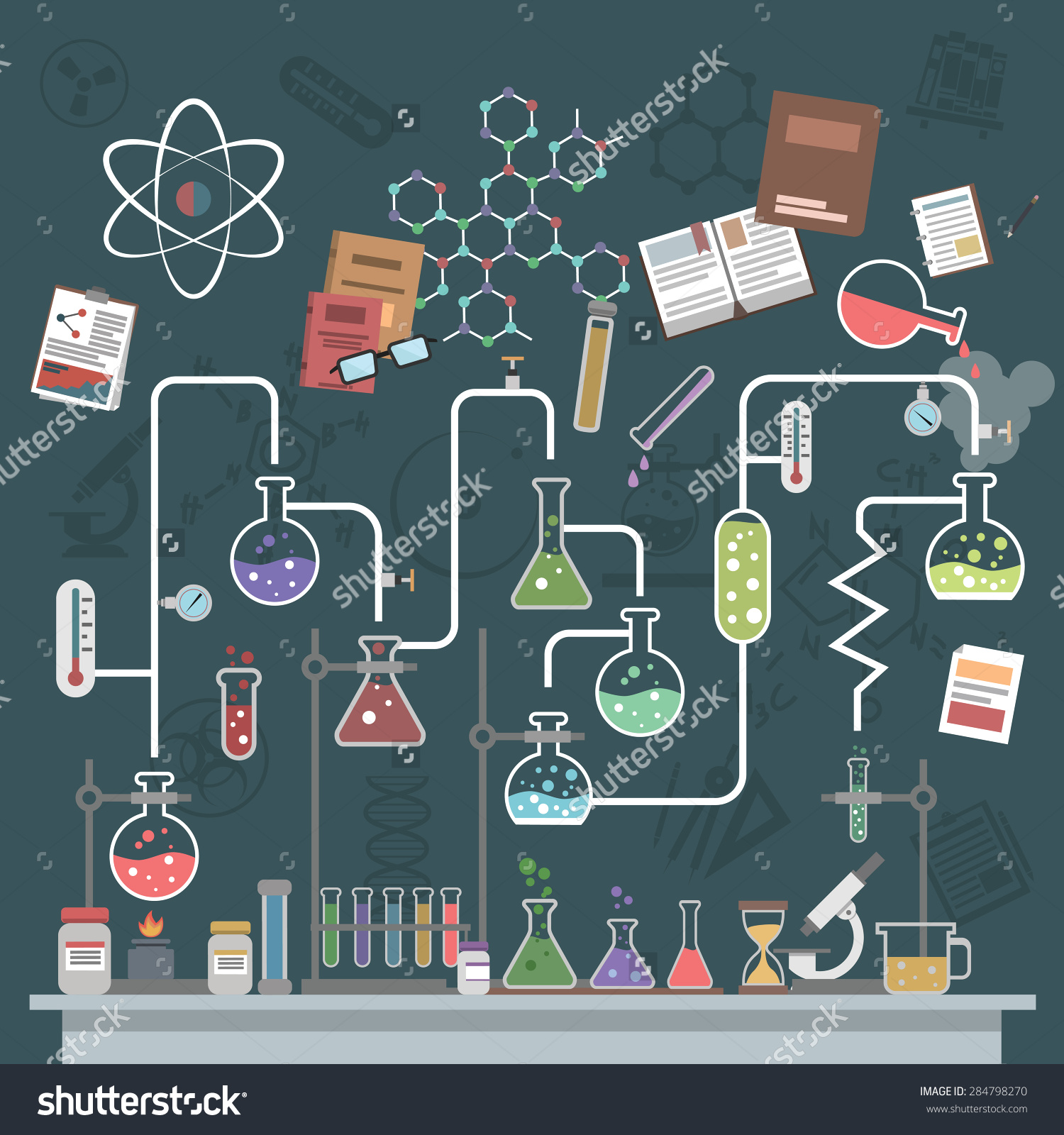 Science Lab Concept Flat Flasks Physics Stock Vector 284798270.