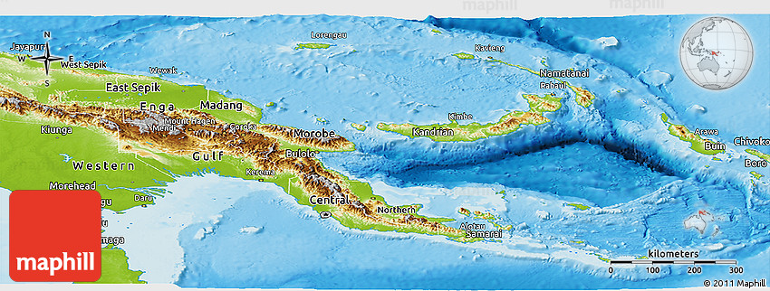 Physical Panoramic Map of Papua New Guinea.