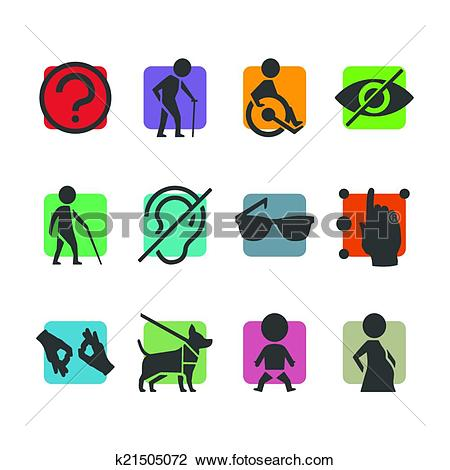 Clipart of Vector colorful icon set of access signs for physically.