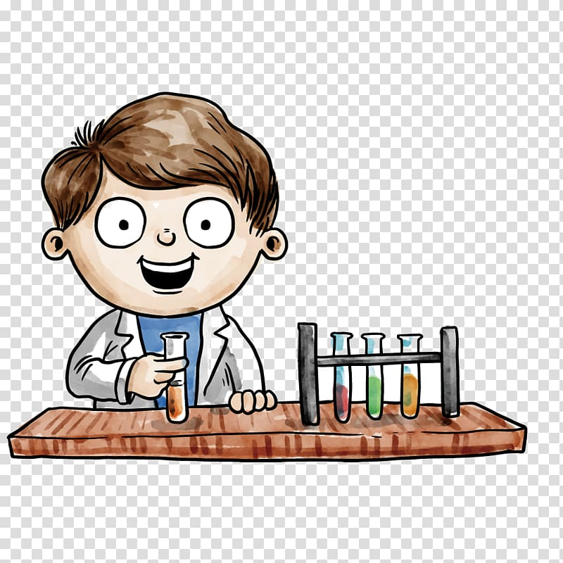 Cartoon boy illustration, Analytical chemistry Drawing.