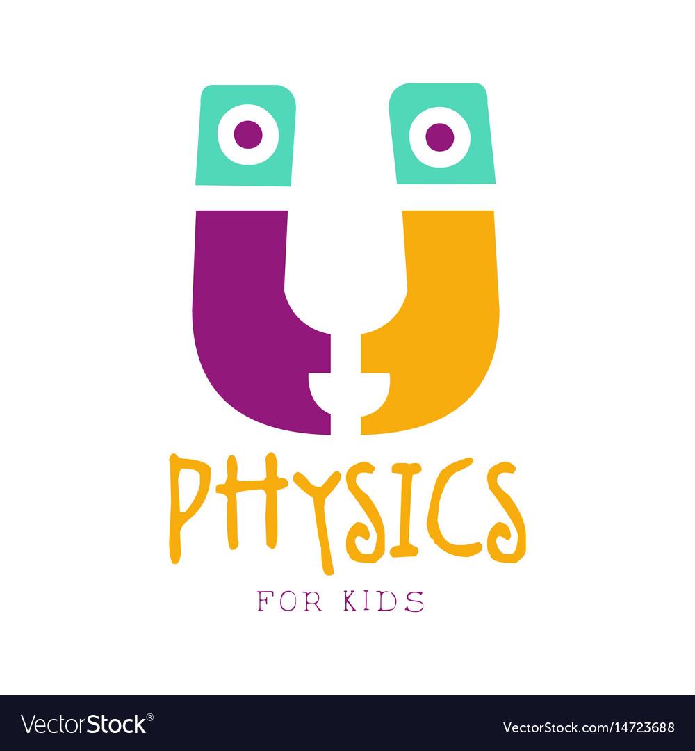 Physics for kids logo symbol colorful hand drawn.