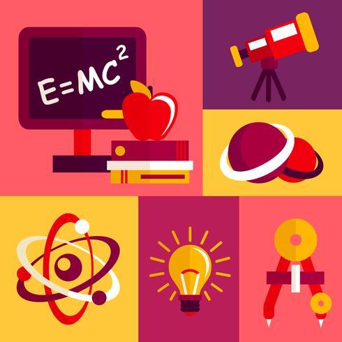 Physics flat design icons set.