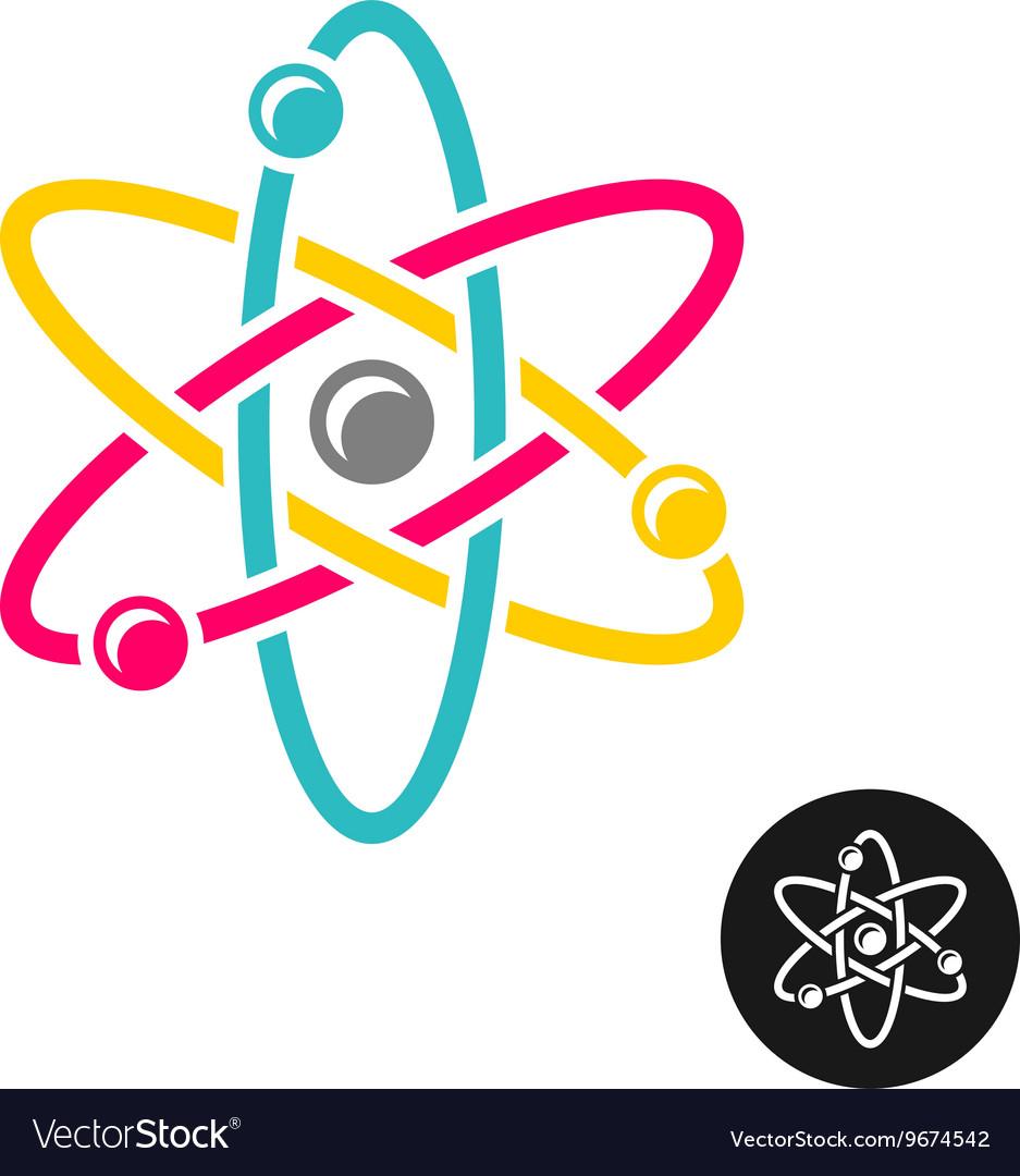 Atom logo Colorful physics science concept symbol.
