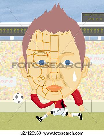 Stock Illustration of Man with physiognomy lines playing soccer.