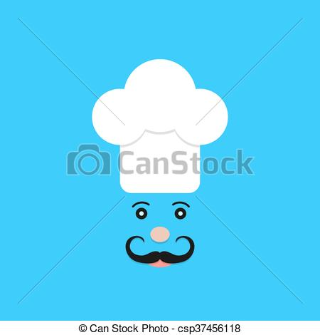 Vector Clip Art of physiognomy of chef on blue background. concept.