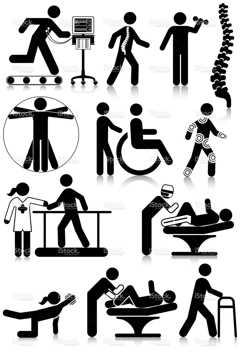 Vectored standard pictograms of physiotherapy staff and.