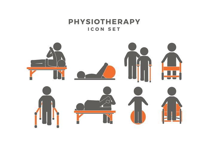 Physiotherapy Icon Set Vector.