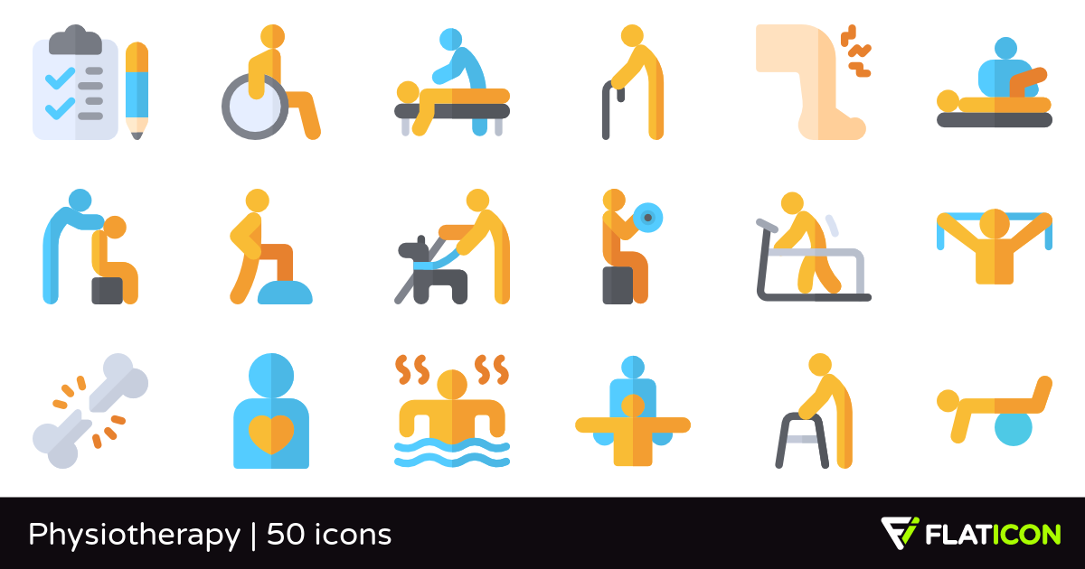 Physiotherapy 50 free icons (SVG, EPS, PSD, PNG files).