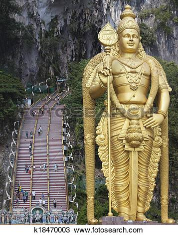 Stock Photo of Lord Murugan Statue at Batu Caves Entrance.