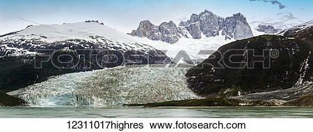 Stock Images of Pia Glacier in the Pia Fjord of the Beagle Channel.