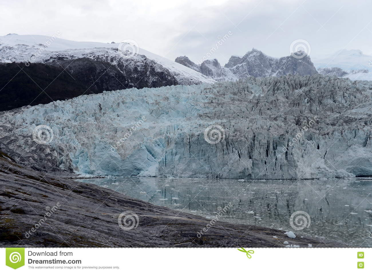Pia Glacier On The Archipelago Of Tierra Del Fuego. Stock Photo.