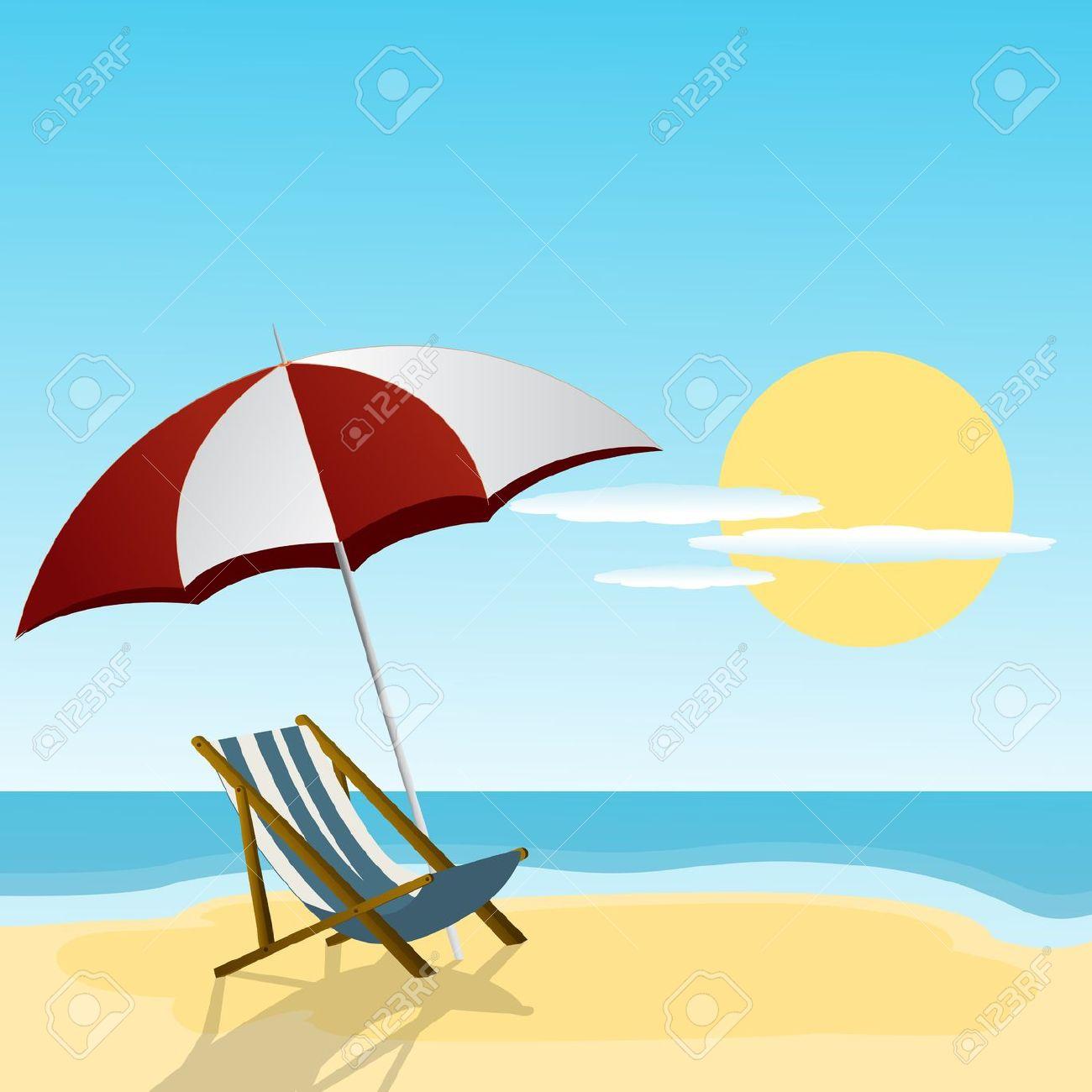 Chaise Lounge E Ombrello Sul Lato Della Spiaggia Clipart Royalty.