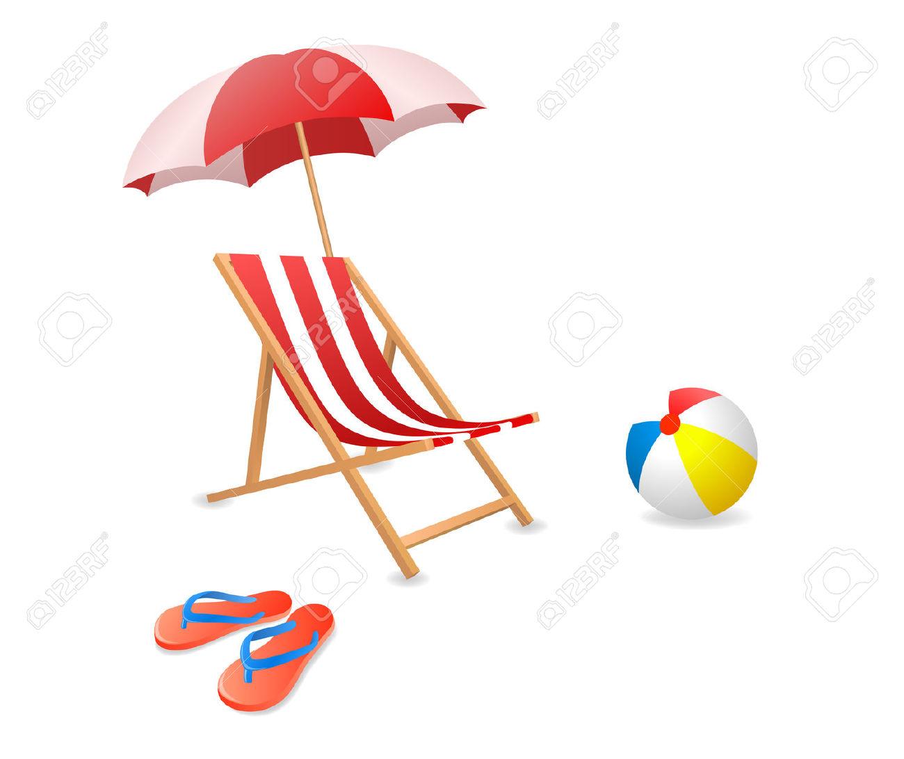 Illustrazione Vettoriale Di Una Sedia Di Spiaggia Con Ombrellone.