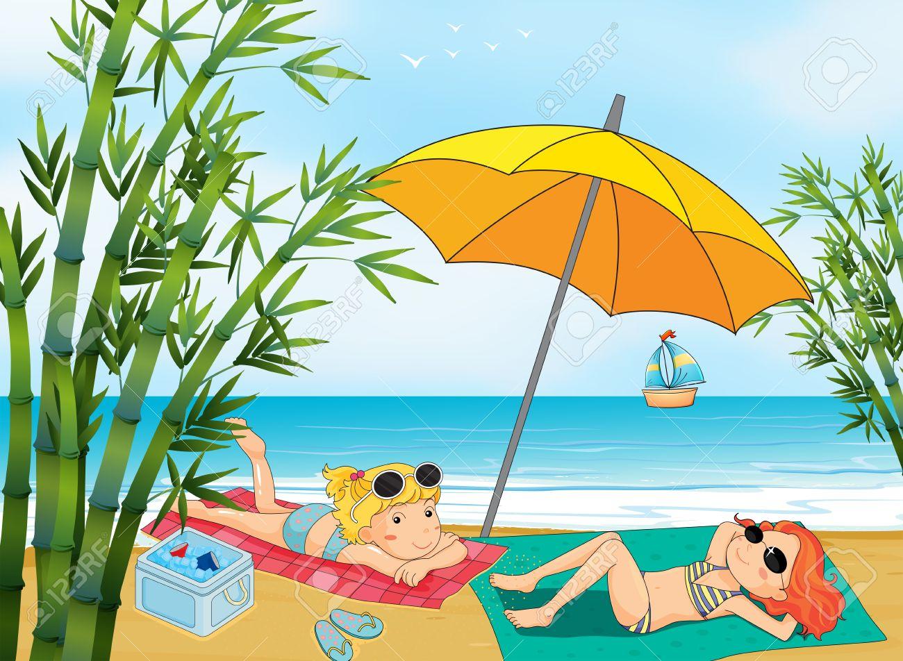 Illustrazione Di Due Belle Ragazze Relax In Spiaggia Clipart.