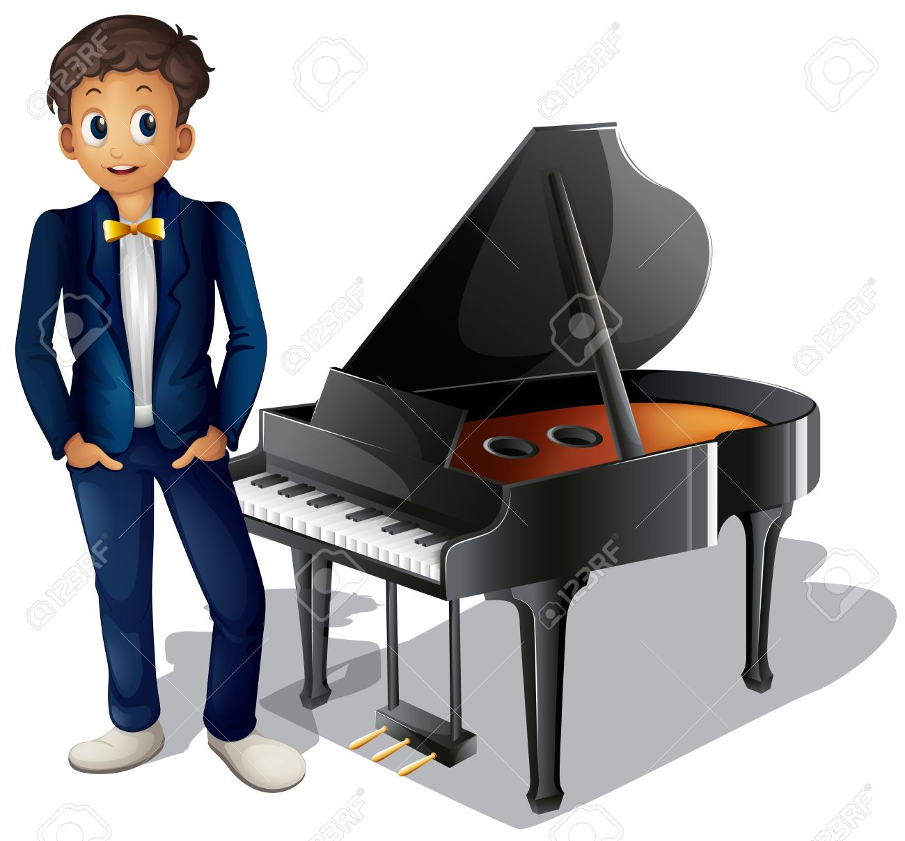 Boy playing piano clipart.