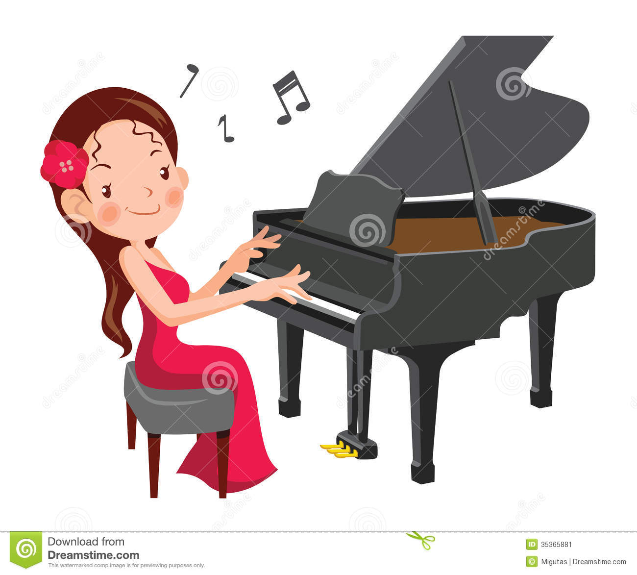 Playing Piano Clipart.
