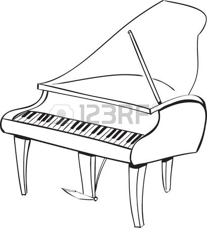 Piano Black And White Drawing Vector Illustration of Piano.