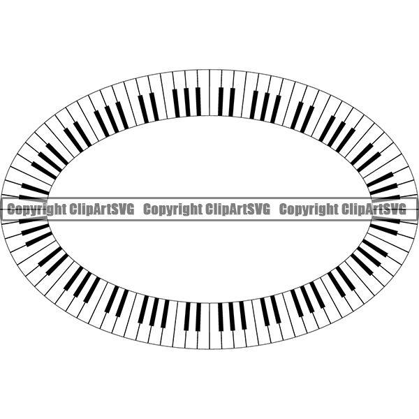 Music Design Element Frame Border Piano Keys Out Oval ClipArt SVG.