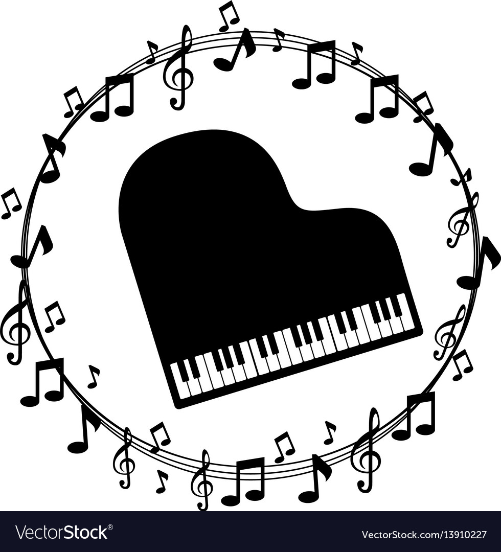 Border musical notes with piano.