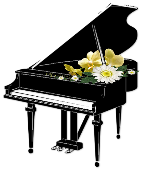 Black Piano with Flowers Transparent Clipart in 2019.