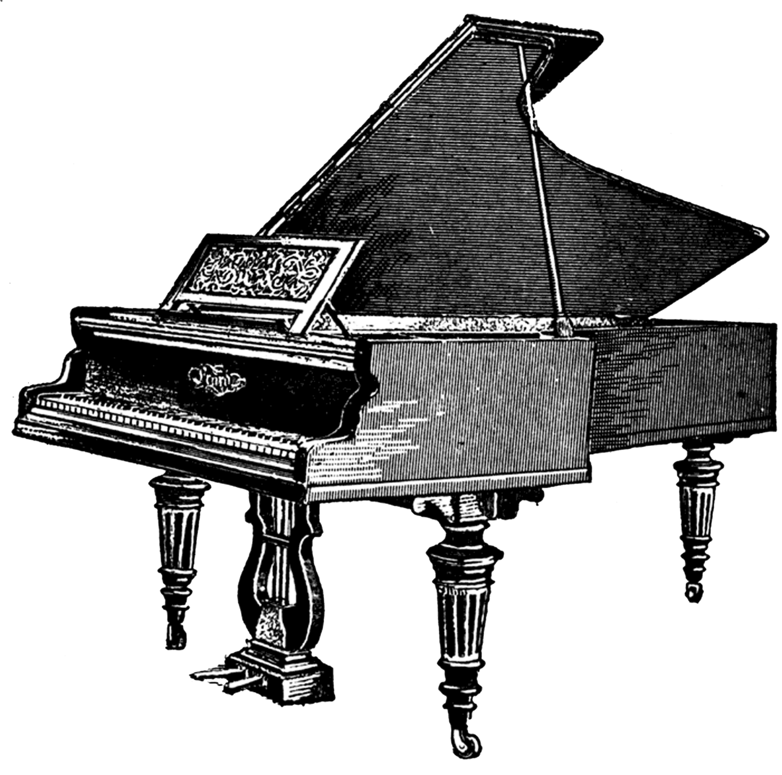 Antique Piano Clipart transparent PNG.
