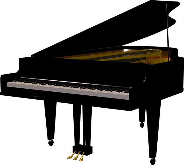 Black Piano Transparent Clipart.