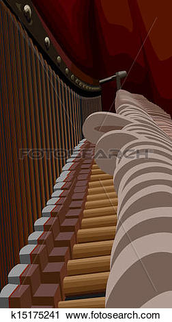 Clipart of Piano interiors with hammers. k15175241.