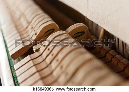 Stock Image of Upright black piano hammer detail k16849365.